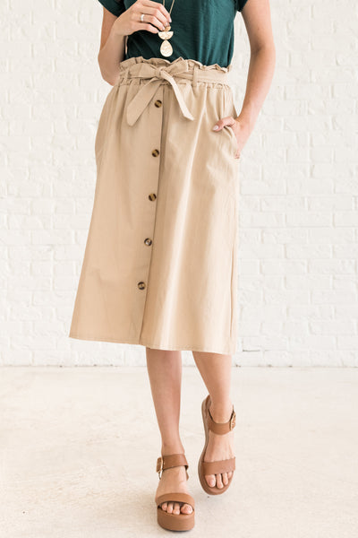 Beige Brown Khaki Vintage Inspired Paperbag Midi Skirt
