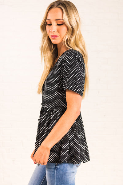 Black Button Up Peplum Hem Oversized Polka Dot Tops Affordable Online Boutique