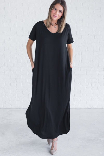 Black Boutique Cute Long Full Floor Length Maxi Dresses for Women