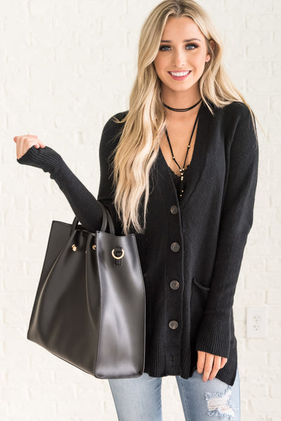 Black Button Up Cute Cozy Warm Knit Cardigan Affordable Online Boutique