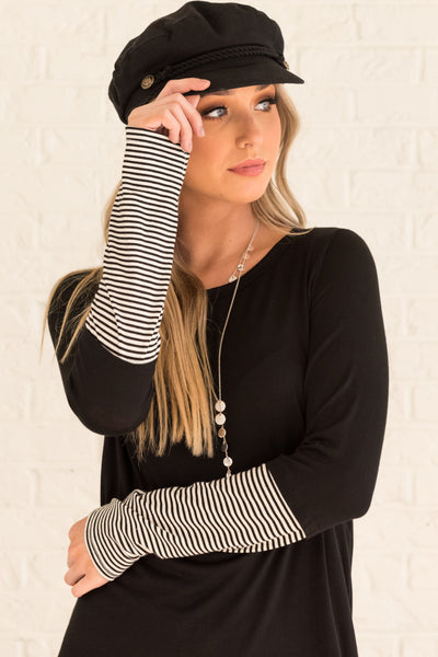 Black Striped Long Sleeve Thumbhole Tops with White Striped Accents