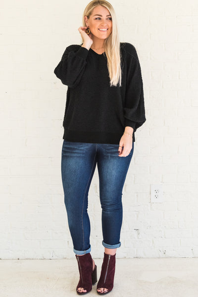 Black V Neck Pullover Sweaters Affordable Online Plus Size Boutique Fall Winter