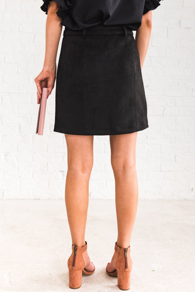 Black Faux Suede Soft Smooth Cute Mini Skirts Affordable Online Boutique