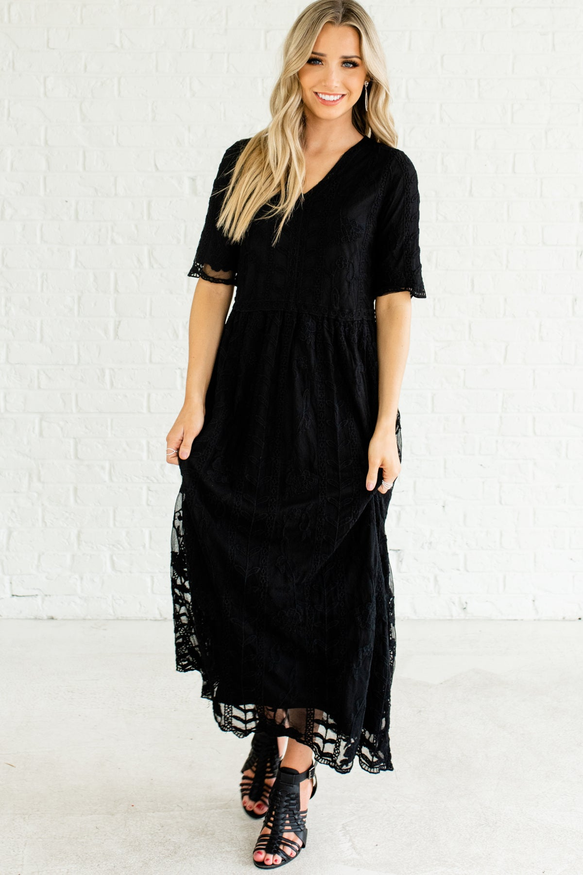 Black Embroidered Lace Boho Chic Long Maxi Dresses Affordable Online Boutique