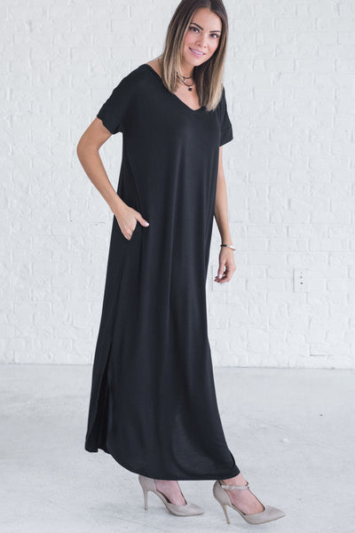 Black Short Sleeve Flowy Maxi Dresses for All Seasons