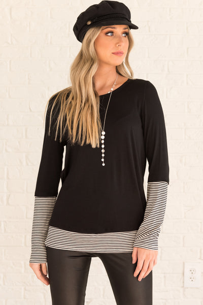 Black White Striped Long Sleeve Thumbhole Tops Affordable Online Boutique