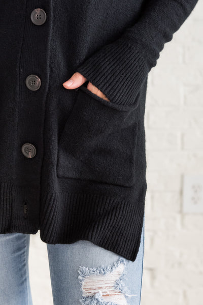 Black Thick Knit Button Up Cardigan Sweater with Pockets