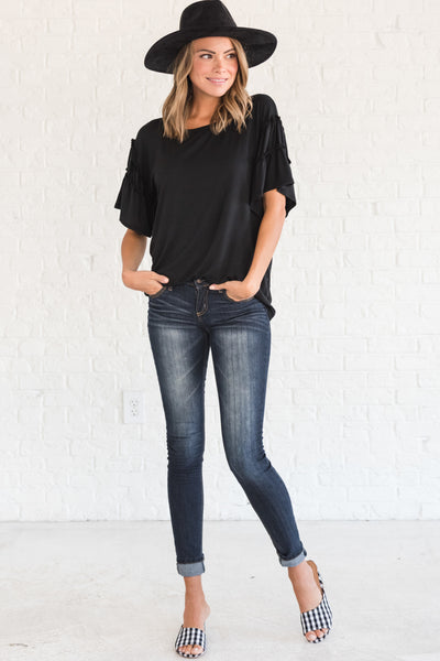 Black Tees Tops Ruffle Cute Plus Size Affordable Online Boutique