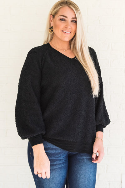 Black Plus Size Warm Cozy Textured Knit Pullover Sweaters V Neckline Puffed Bishop Sleeves