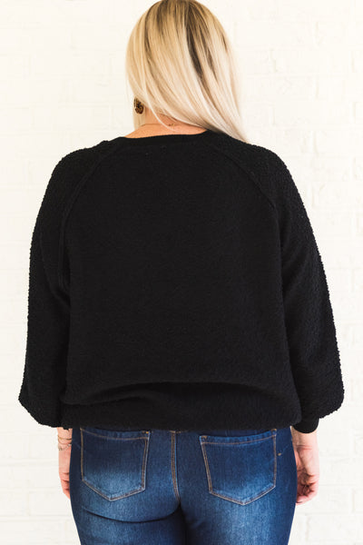 Black Popcorn Knit Textured Cozy Plus Size Sweaters for Winter Womens Fashion