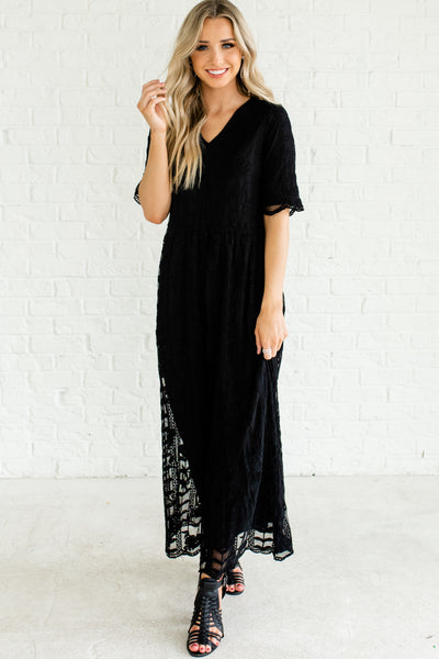 Black Short Sleeve Long Ankle Length Maxi Dress with Floral Embroidery Lace Overlay