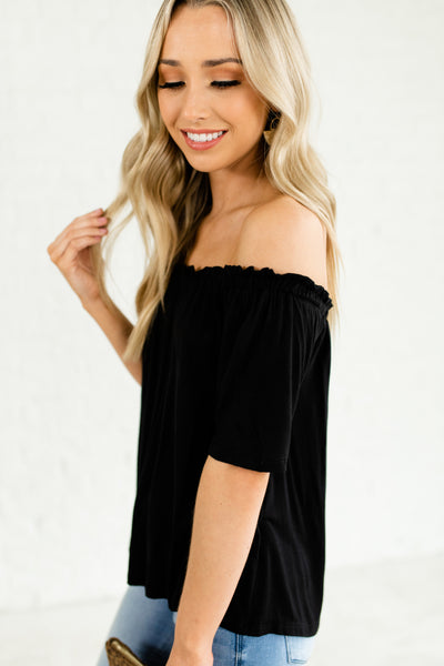 Black Ruffle Pleated Off Shoulder Boutique Short Sleeves Tops for Women