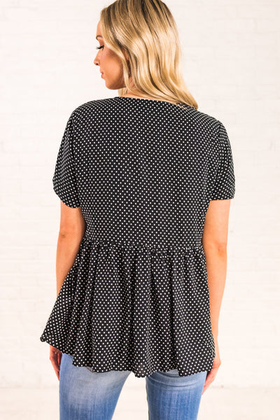 Black Polka Dot Button Up V Neckline Oversized Peplum Shirts and Tops