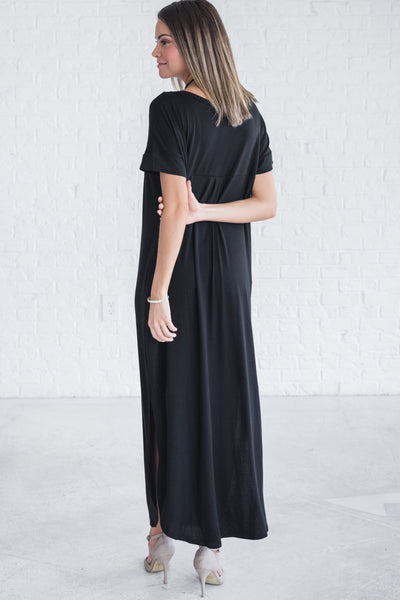 Black Rounded Hem Split Side Slit Maxi Dresses for Women