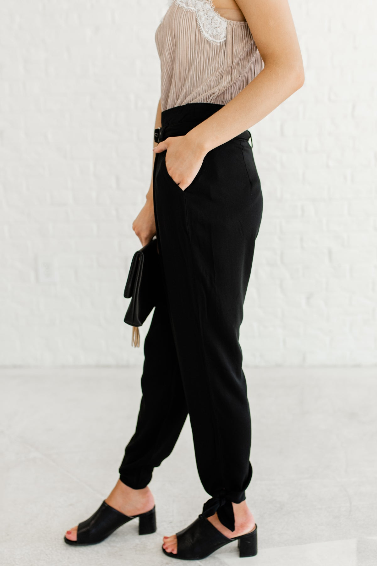 Black Boutique Slacks and Business Casual Dress Pants with Tie Accents and Removable Trendy Belt