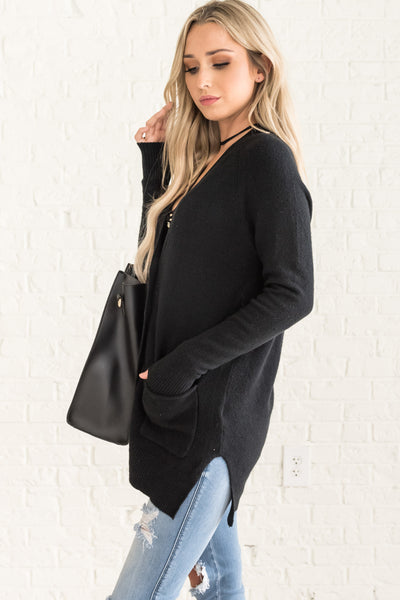 Black Cute Button Up Warm Knit Cardigan Sweaters Affordable Online Boutique
