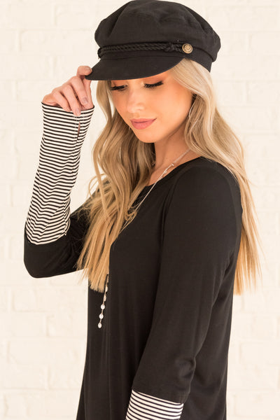 Black Cute Long Sleeve Thumbhole Boutique Tops with Striped Pattern Accents