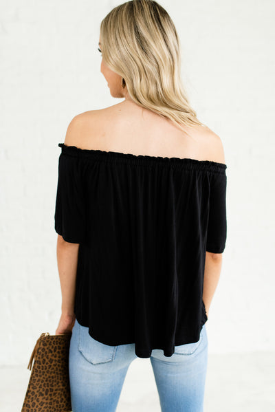 Black Ruffled Off the Shoulder Subtly Pleated Short Sleeve Tops for Women