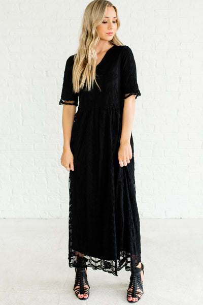 Black Half Sleeves Fully Lined Cute Long Maxi Length Embroidered Floral Lace Boutique Dresses
