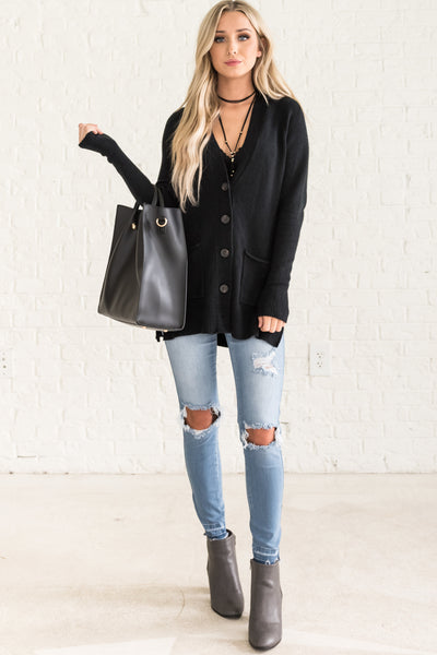 Black Button Up Cute Cozy Warm Cardigan Sweaters with Tortoise Shell Buttons