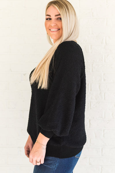 Black Textured Pullover Textured Knit Sweaters from Affordable Online Plus Size Curvy Boutique