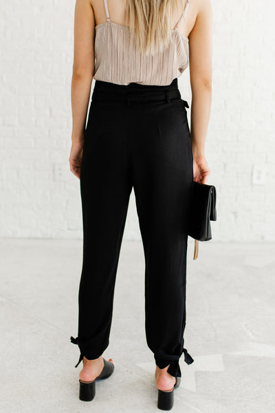 Black Belted Cute High Quality Business Casual Dress Pants and Slacks Boutique