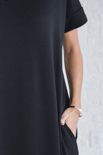 Black Cute Maxi Dresses with Pockets and Side Split Slit Hem