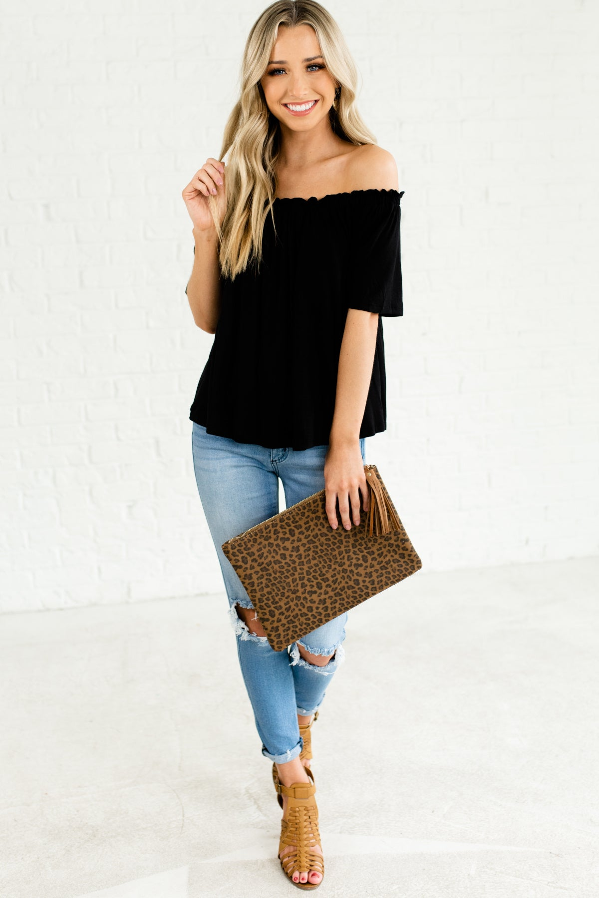 866f303b307 Black Off the Shoulder Cold Shoulder Cute Ruffle Pleated Tops Affordable  Online Boutique
