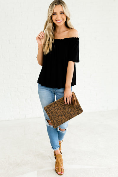 Black Off the Shoulder Cold Shoulder Cute Ruffle Pleated Tops Affordable Online Boutique