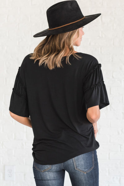 Black Cute Tops for Women with Ruffle Sleeve Details