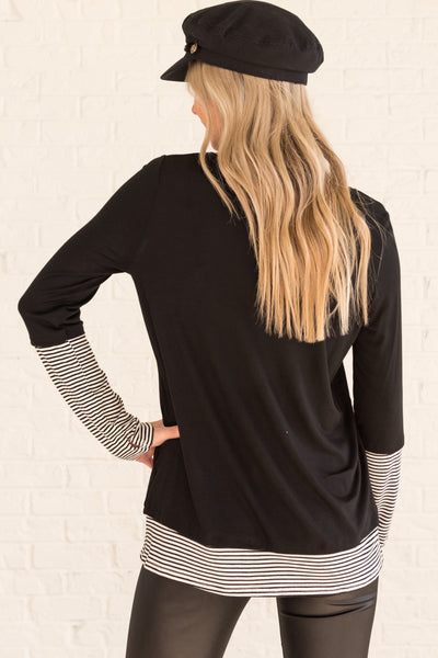 Black Long Sleeve Tops with Thumbholes and Striped Accents on Sleeves and Hem
