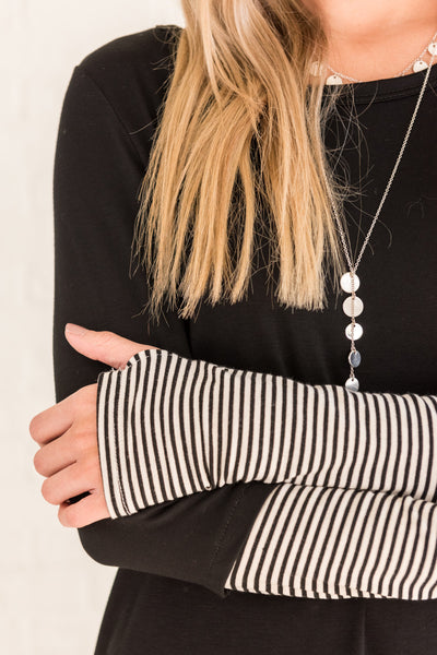 Black White Striped Long Sleeve Tops with Thumbholes for Women