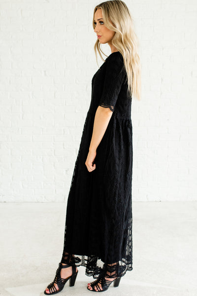 Black Maxi Dresses with Full Lining and Embroidered Crochet Lace Overlay