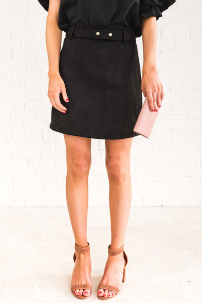 Black Faux Suede Mini Skirts with Detachable Snap Button Belt for Women