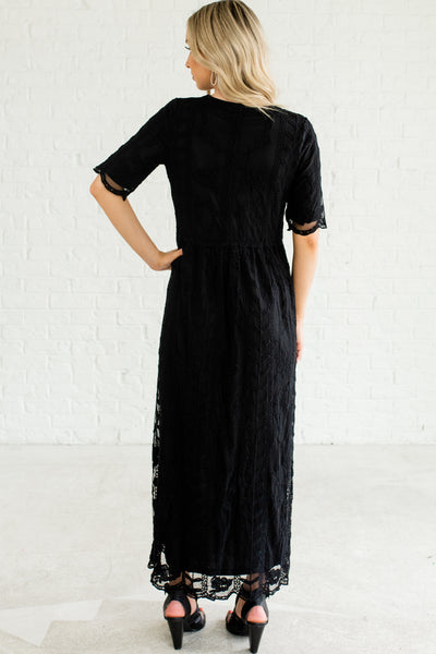 Black Fully Lined Embroidered Crochet Lace Overlay Long Romantic Maxi Dresses for Women