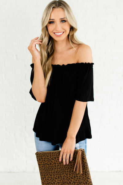 Black Off the Shoulder Stretchy Ruffle Pleated Tops Affordable Online Boutique