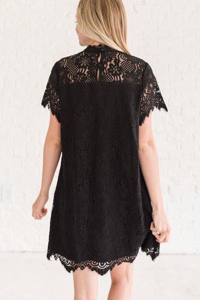 Black Lace Overlay Cute Mini Dresses for Going Out