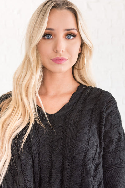black high low v neck cable knit boyfriend pullover sweaters cozy warm clothing