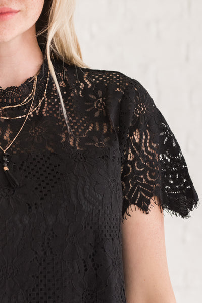 Black Lace Overlay Mini Party Dresses for Special Occasions