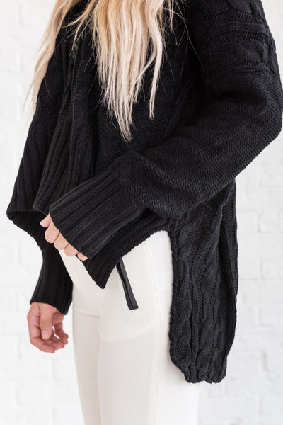 Black Cable Knit Cute Cozy Oversized Boyfriend Sweaters for Women Outerwear