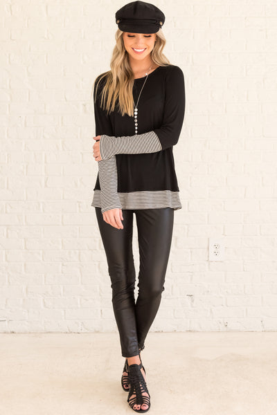 Black Long Sleeve Tops with Striped Accents and Thumb Hole Fit