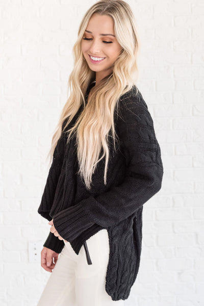 Black Oversized Cozy Warm Chunky Cable Knit Womens Sweaters for Christmas