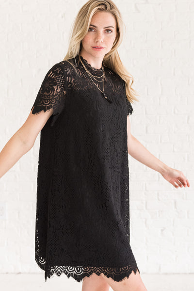 Black Best Mini Lace Little Black Dresses for Fall