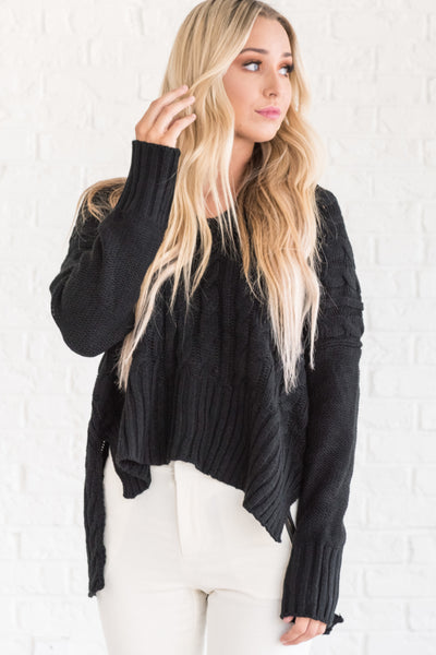 Black Oversized Boyfriend Cozy  Chunky Cable Knit High Low Pullover Sweaters