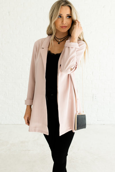 Light Blush Pink Cute Oversized Boutique Business Casual Fashion for Women