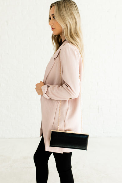 Blush Light Pink Cute Oversized Striped Pinstripe Business Casual Girl Boss Blazers Boutique