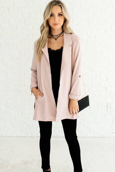 Blush Pink Cute Oversized Striped Pinstripe Business Casual Boutique Fashion Blazers