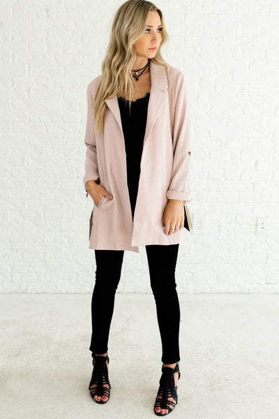 Blush Pink Glowy Sheen Striped Pinstripe Oversized Cute Blazers Affordable Online Boutique