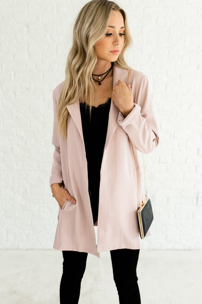 Blush Pink Striped Pinstripe Oversized Business Casual Girl Boss Boutique Blazers