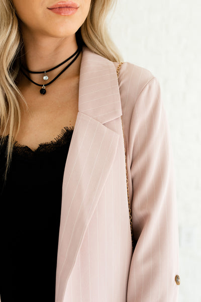 Blush Pink Pinstripe Striped Oversized Cute Boutique Blazers Business Casual